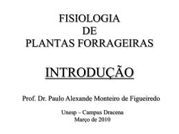 FISIOLOGIA DA PRODUÇÃO DAS PLANTAS FORRAGEIRAS