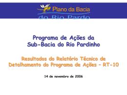 Etapa A - Diagnóstico da Bacia do Rio Pardo