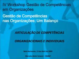 Articulação de competências organizacionais e individuais