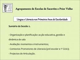 Língua e Literacia nos Primeiros Anos de Escolaridade