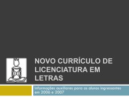 novo currículo de Licenciatura em Letras