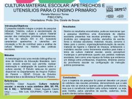CULTURA MATERIAL ESCOLAR: APETRECHOS E