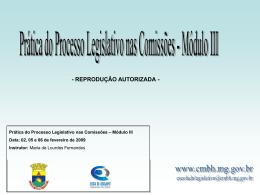 PRÁTICA DE PROCESSO LEGISLATIVO NAS COMISSÕES