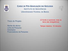 Template para Apresentação Oral DE ALUNOS MATRICULADOS