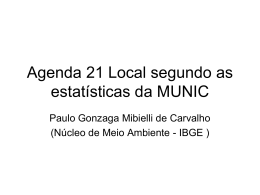 Agenda 21 segundo as estatísticas da MUNIC
