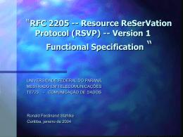 O RSVP - Universidade Federal do Paraná