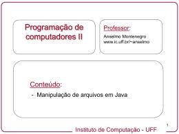 Entrada e saída através de arquivos - Instituto de Computação