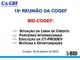 COGEF 15a Reunião Ap BID