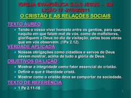 27/06/2011 o cristão e as relações sociais