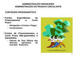 administração financeira administração do passivo circulante