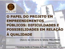 o papel do projeto em empreendimentos públicos