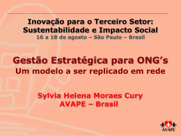 Gestão Estratégica para ONG`s- Um modelo a ser replicado em rede