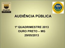 1º quadrimestre 2012 - Prefeitura de Ouro Preto