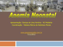 Anemia neonatal (com link para Risco de
