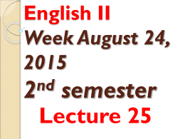 English II Lecture 26