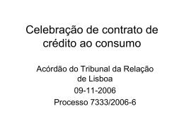 Celebração de contrato de crédito ao consumo