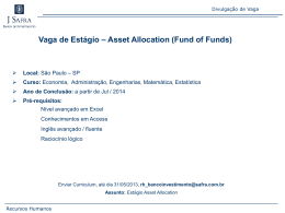 Vaga de Estágio – Asset Allocation (Fund of Funds)