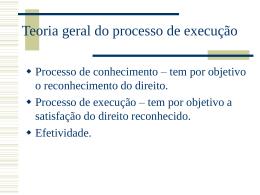 1. Do processo de execução – Teoria geral