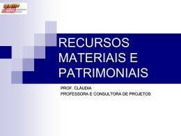 Recursos Materiais e Patrimoniais.