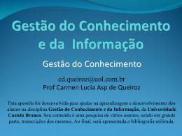 O Marketing do Conhecimento - Universidade Castelo Branco