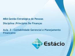 aula 3 – contabiidade gerencial e planejamento financeiro