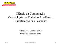 Ciência da Computação Metodologia do Trabalho Acadêmico