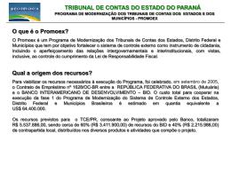 O que é o Promoex? - Tribunal de Contas do Estado do Paraná