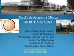 Sessão de Anatomia Clínica: Morte Materna