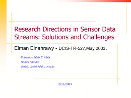 Research Directions in Sensor Data Streams