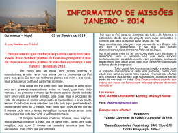 INFORMATIVO DE MISSÕES NOVEMBRO – 2011