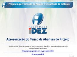 Escopo do produto Projeto Supervisionado de Análise e
