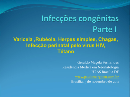 1º dia: (terça feira, 1/11/11) [Varicela, Hepatite B, D.Chagas, AIDS