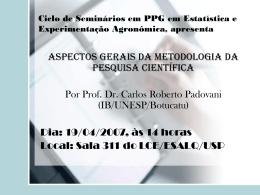 Ciclo de Seminários em PPG em Estatística e - IME-USP