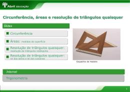 Circunferências áreas e resolução de triângulos quaisquer