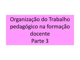 Organização do Trabalho pedagógico na formação docente Parte 3