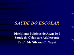 SAÚDE DO ESCOLAR