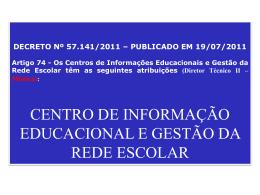 Apresentação do PowerPoint - Diretoria de Ensino Região Centro Sul