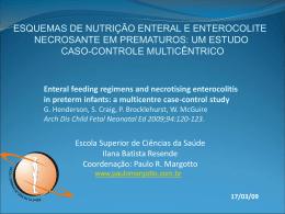Esquemas de nutrição enteral e enterocolite necrosante em