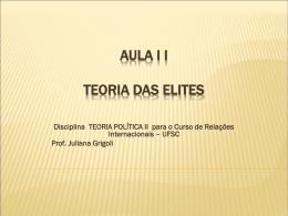 aula i i teoria das elites