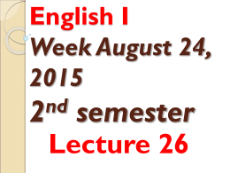 English I Lecture 26
