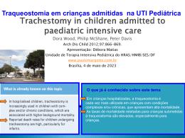 Traqueostomia em crianças admitidas na UTI Pediátrica