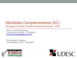 Atividades Complementares (AC) Tecnologia em Análise e