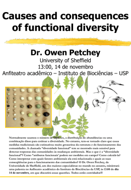 Dr. Owen Petchey - Instituto de Biociências