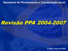 APRESENTAÇÃO DA METODOLOGIA DE REVISÃO DO PPA