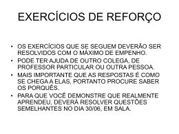 EXERCÍCIOS DE REFORÇO