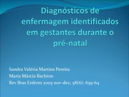 Diagnósticos de enferamagem identificados em gestantes durante o