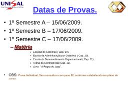 Datas de Provas.