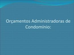 Orçamentos Administradoras de Condomínio - Domicilium