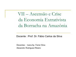 VII – Ascensão e Crise da Economia Extrativista da Borracha na
