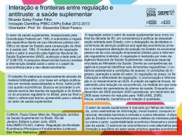 Interação e fronteiras entre regulação e antitruste: a saúde